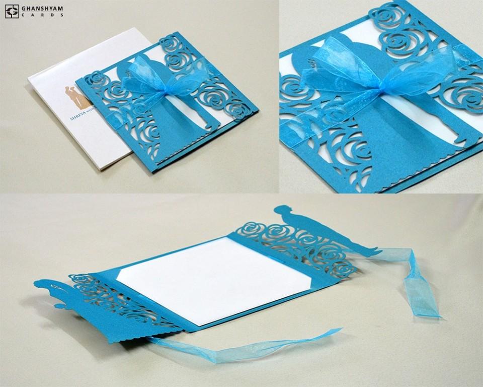 Center Fold Couple Laser Cut Wedding Card LM 133 Firozi