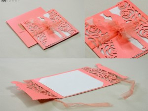 Center Fold Couple Laser Cut Wedding Card LM 133 Pink