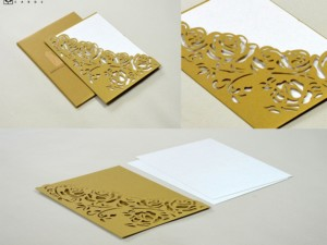 Laser Cut Wedding Card LM 135 Gold