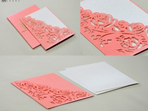 Laser Cut Wedding Card LM 135 Pink
