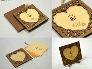 Heart Theme Photo Frame Wedding Card LM 166 Heart