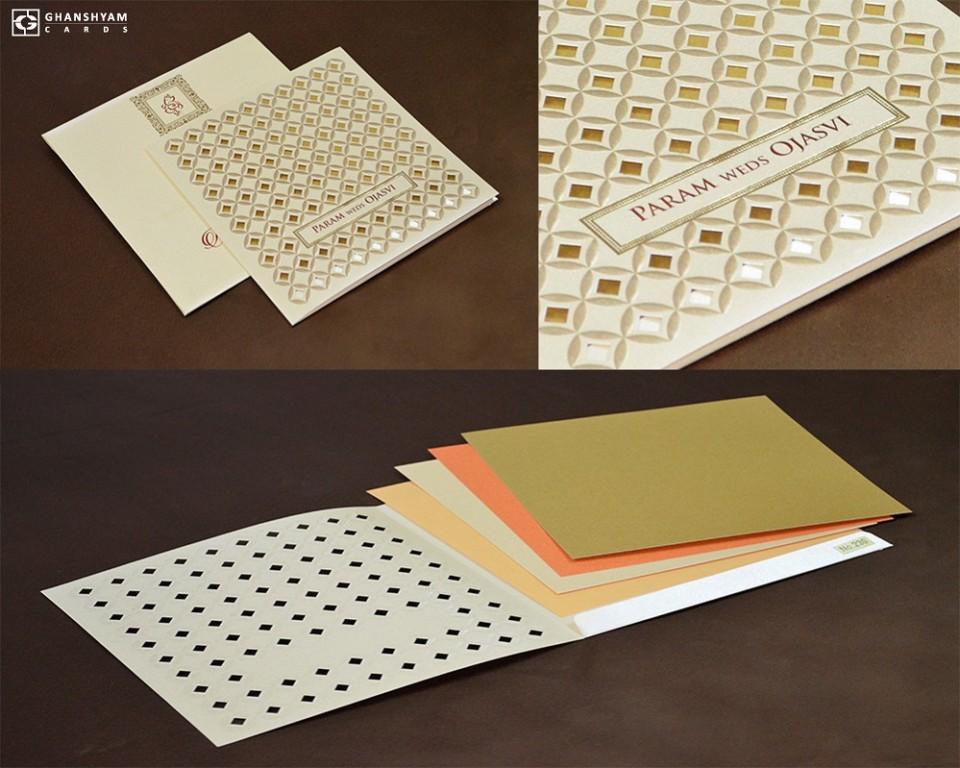 Cut Work Budget Wedding Card LM 230 Cream