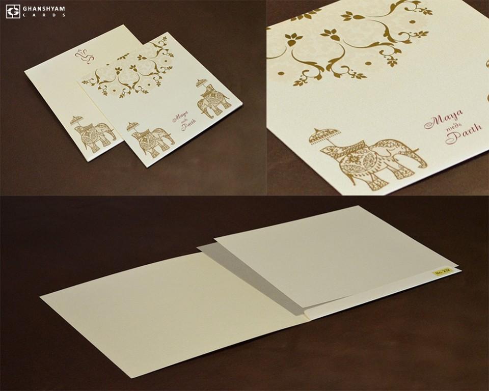 Budget Gold Foil Elephant Wedding Card LM 232 Cream