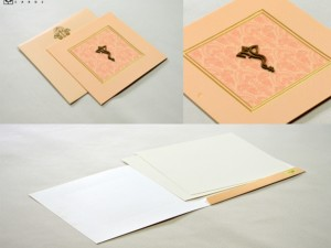 Budget Hindu Wedding Card Design LM 248 Peach