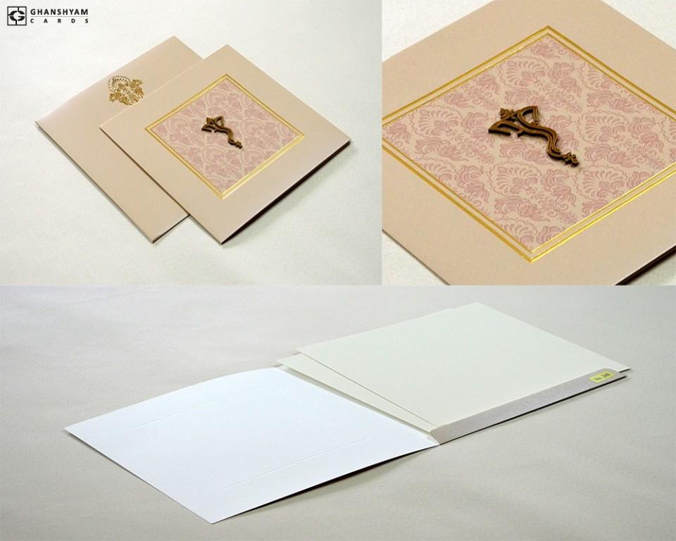 Budget Hindu Wedding Card Design LM 249 Grey