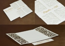 Center Fold Laser Cut Wedding Card Design LM 258 White