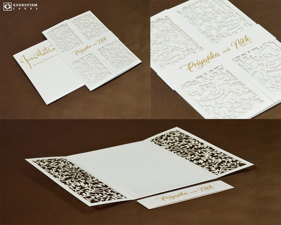 Center Fold Laser Cut Wedding Card Design LM 258 White