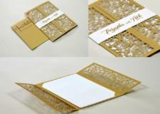 Center Fold Laser Cut Wedding Card Design LM 259 Gold