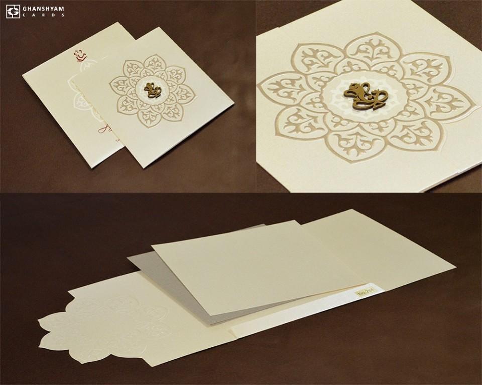 Budget Center Opening Hindu Wedding Card LM 264 Cream