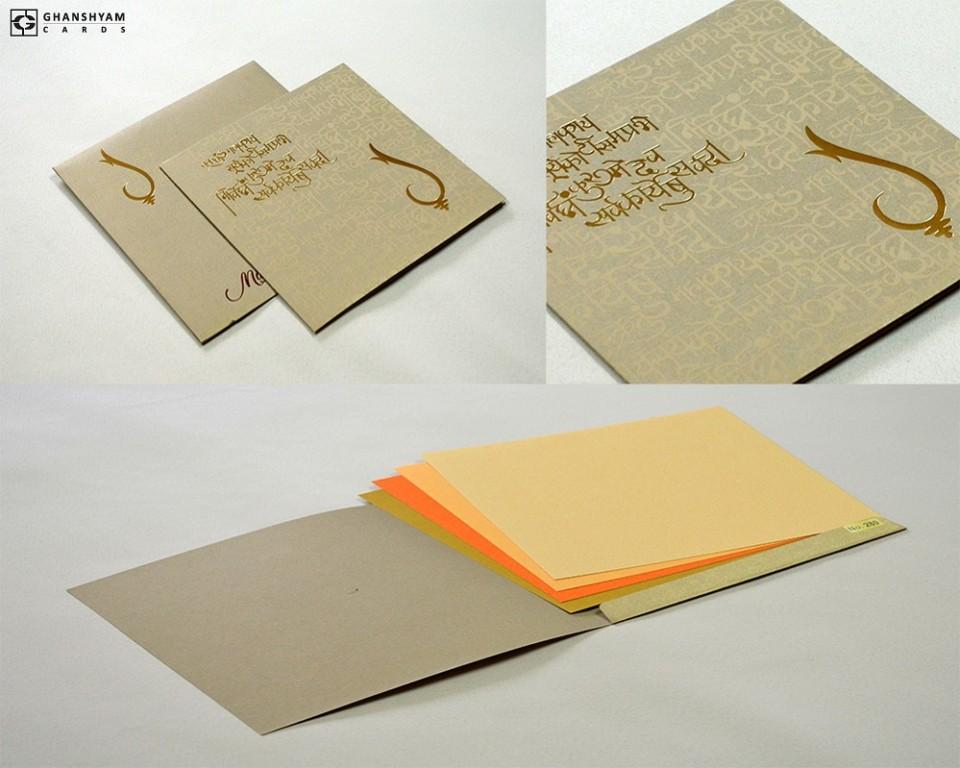 Budget Hindu Wedding Card Design LM 280 Grey