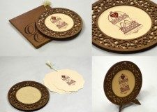 Round Photo Frame Style Wedding Card LM 74 Copper