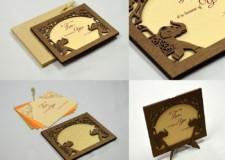 Elephant Theme Photo Frame Style Wedding Card LM 81 Elephant