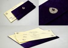 Purple Velvet Wedding Card MCC 6647