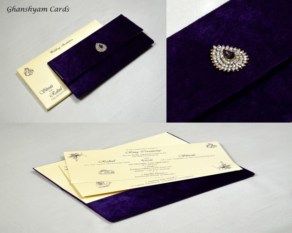 Purple Velvet Wedding Card MCC 6647