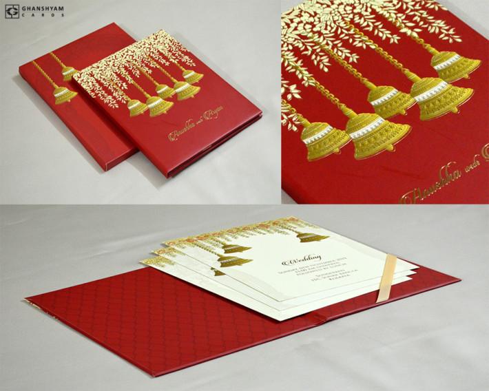 Red Wedding Bells Theme Exclusive Wedding Card Design MG 322