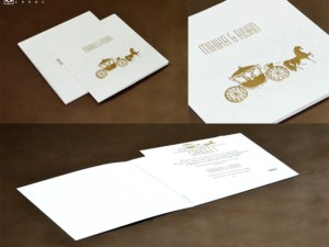 Gold Foil Chariot Budget Wedding Card PR 1002