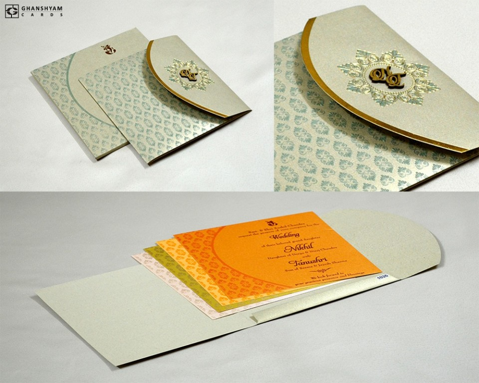 Pista Green Center Opening Wedding Card PR 1026