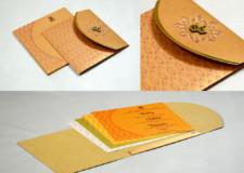 Orange Center Opening Wedding Card PR 1027