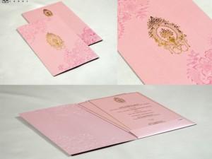 Pink Budget Muslim Wedding Card PR 1049