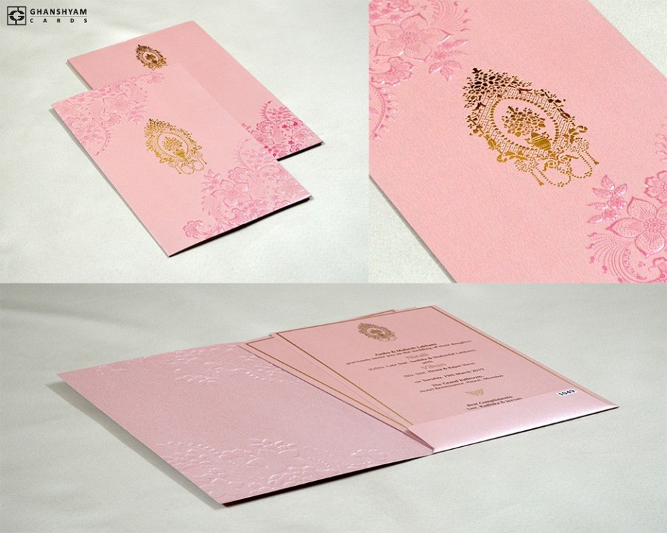 Pink Budget Muslim Wedding Card PR 1049