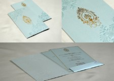 Light Blue Budget Muslim Wedding Card PR 1050