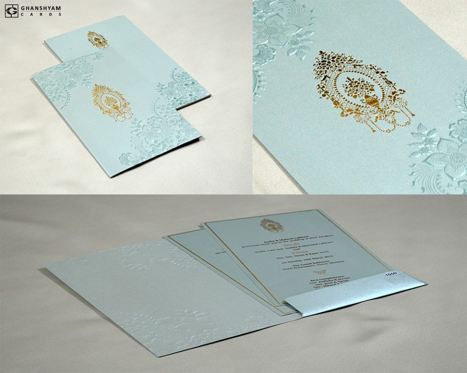 Light Blue Budget Muslim Wedding Card PR 1050