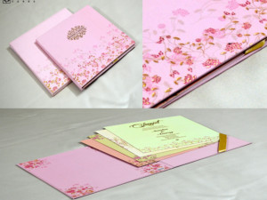 Velvet Touch Paper Pink Floral Theme Wedding Card PR 2024