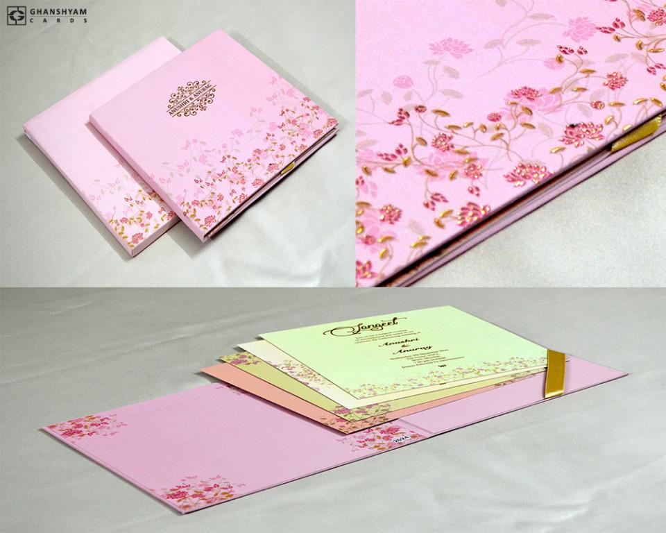 Velvet Touch Paper Pink Floral Theme Wedding Card PR 2024
