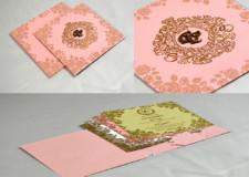 Peach Floral Theme Wedding Card PR 446