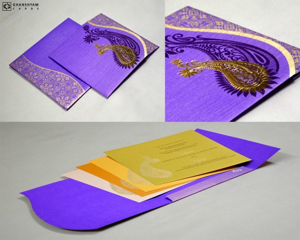 Paisley Purple Wedding Card PR 478