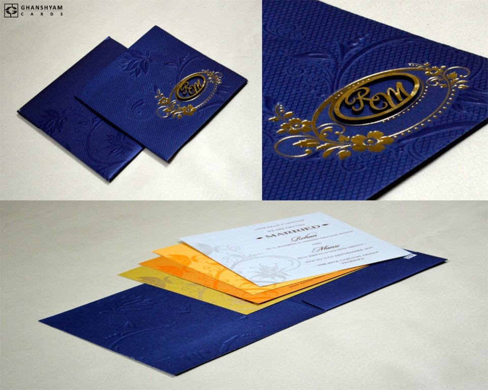 Royal Blue Budget Wedding Card PR 519