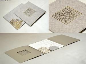 Grey Lasercut Wedding Card PR 529
