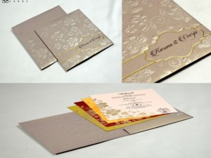 Grey Budget Floral Wedding Card Design PR 540