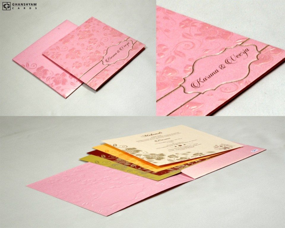 Baby Pink Floral Wedding Card PR 541