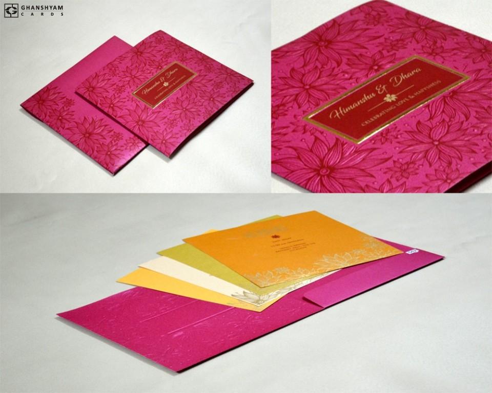 Dark Pink Floral Theme Wedding Card Design PR 542