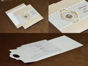 Cream Designer Budget Wedding Card PR 547