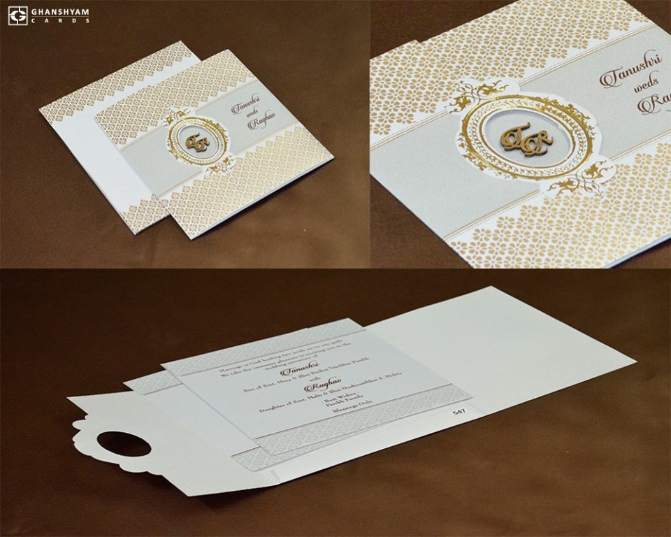 Cream Designer Budget Wedding Card PR 547