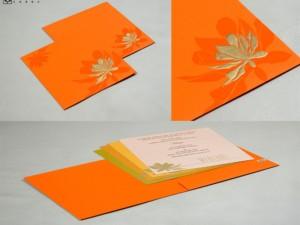 Orange Floral Wedding Card Design PR 562