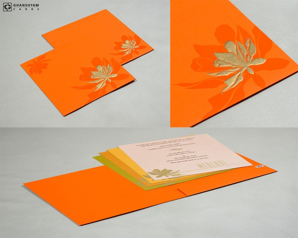 Orange Floral Wedding Card Design PR 562