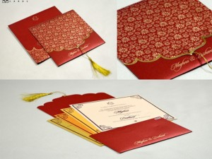 Dori Opening Red Floral Budget Wedding Card PR 661