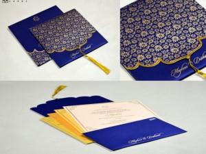 Dori Opening Blue Floral Budget Wedding Card PR 662