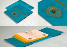 Blue Centre Fold Wedding Card Design PR 709