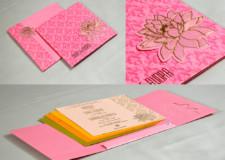 Lotus Theme Budget Wedding Card PR 727