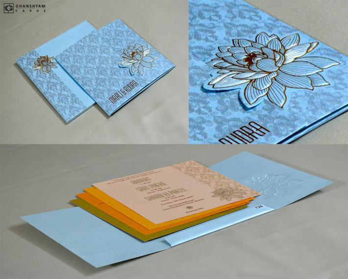 Lotus Theme Budget Wedding Card PR 728