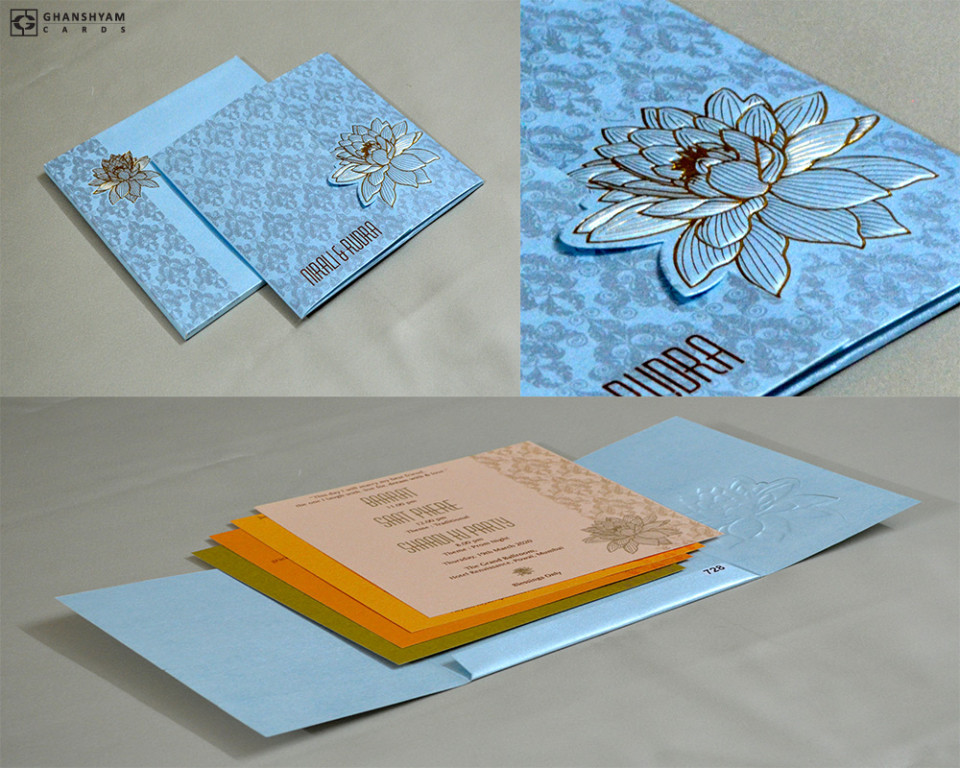 Lotus Theme Budget Wedding Card PR 728