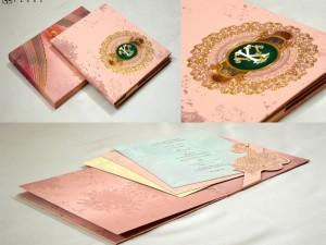 Exclusive Velvet Touch Paper Peach Wedding Card PR 932
