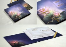 Lotus Theme Padded Wedding Card With Carry Bag Pr 944