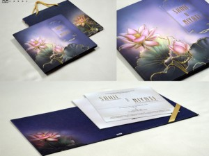 Lotus Theme Padded Wedding Card With Carry Bag Pr 944