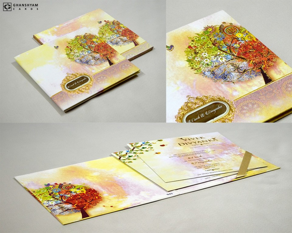 Exclusive Cherry Blossom Tree Wedding Card PR 945