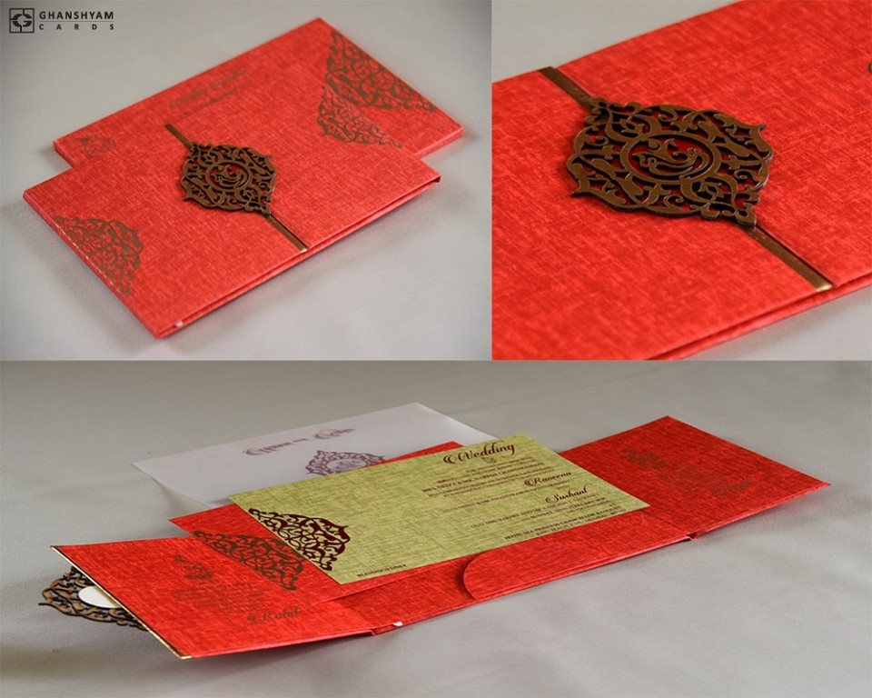 Gatefold Opening Padded Wedding Card Design RB 1442 RED